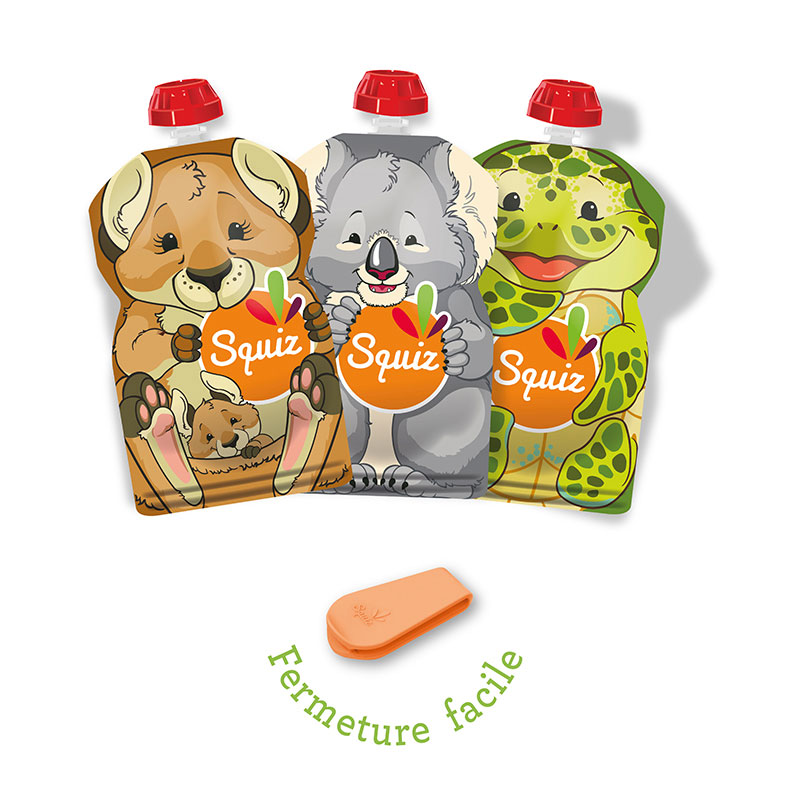 Squiz lot3gourdesreutilisables australie 130ml 1 curseur Squiz zip
